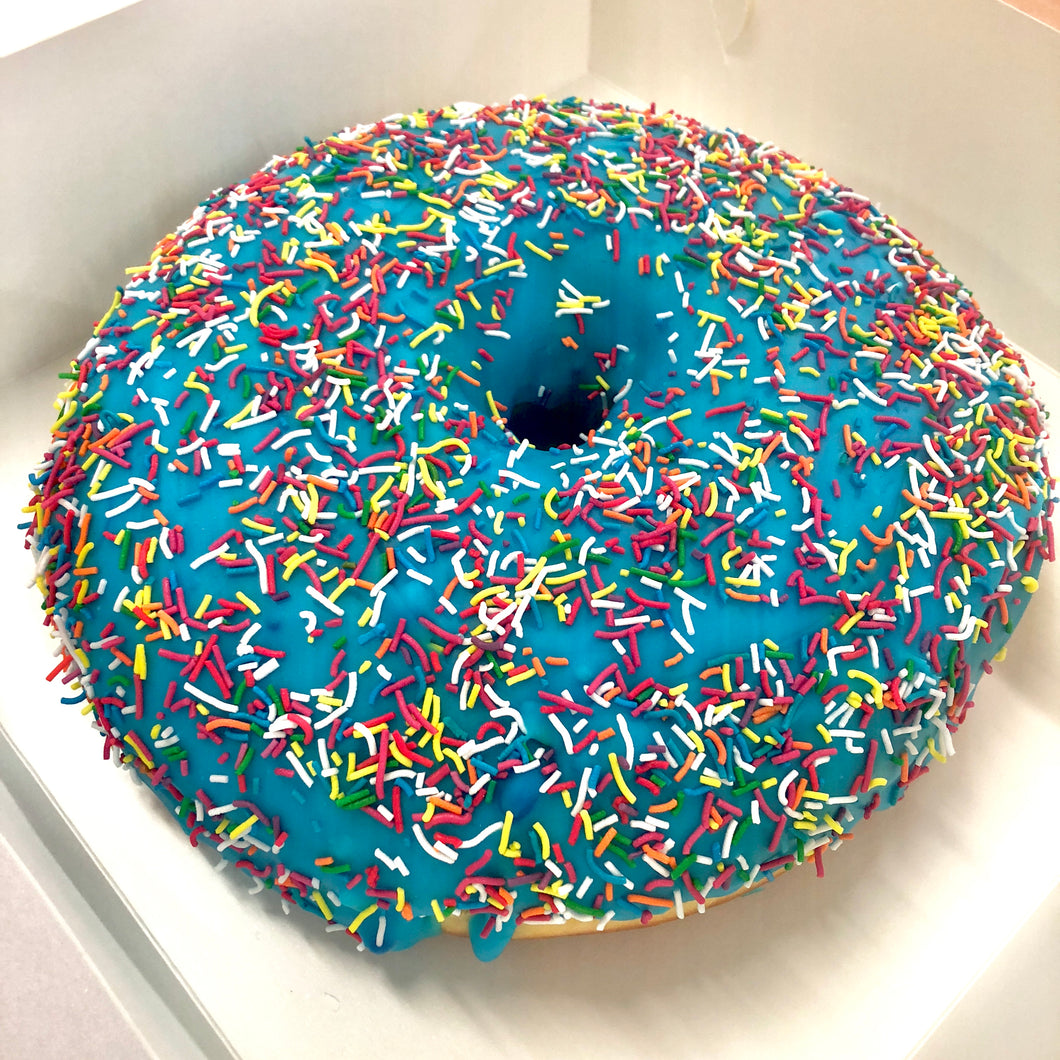 GIANT BLUE DONUT CAKE