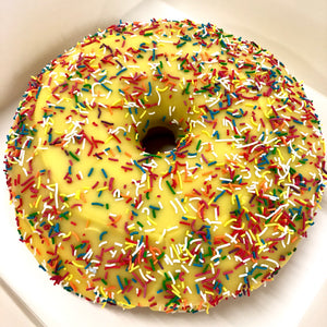 GIANT YELLOW PINEAPPLE DONUT CAKE