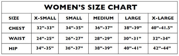 Sizing chart for women