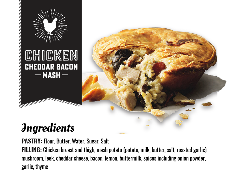 Chicken Cheddar Bacon Mash Pie