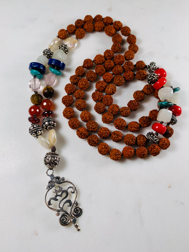 Om 108 Prayer Mala with Chakra stones and Rudraksha