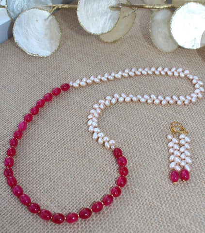 Freshwater Pearls and Deep Pink Quartz Necklace