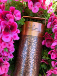 Copper Water Bottle Floral etched Antique finish 27 Fluid Oz