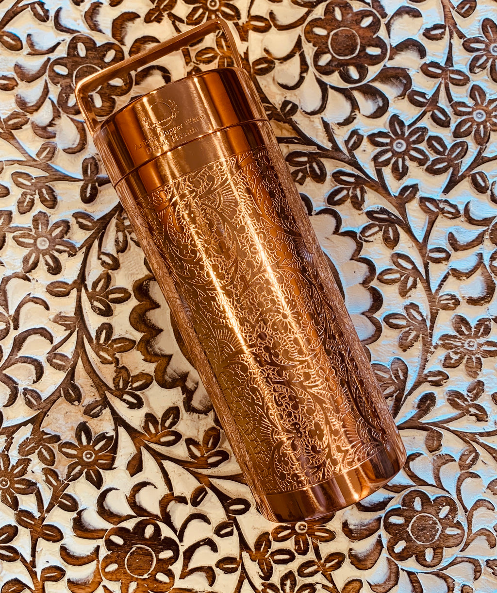 Copper Water Bottle Floral etched Shiny finish 27 Fluid Oz