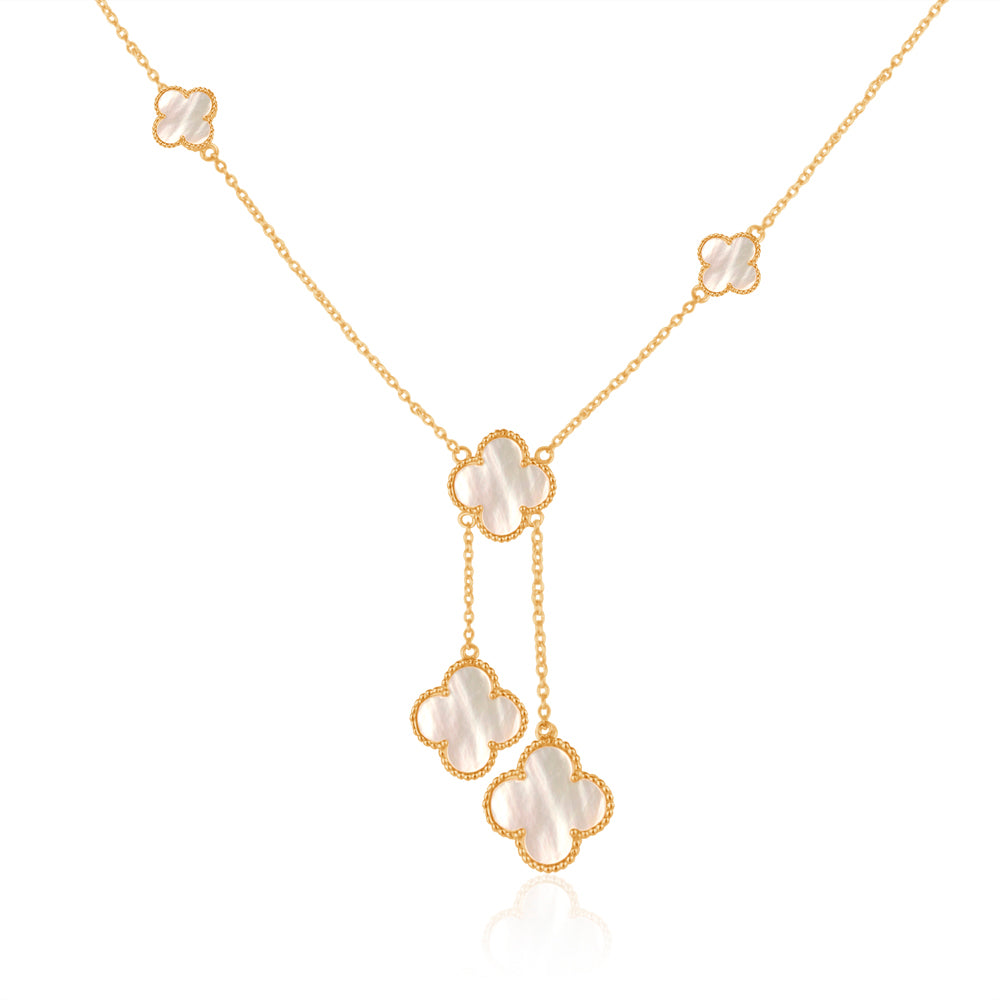 Quatrefoil Necklace: Faith:Hope:Love:Luck, Mother Of Pearl (Pure Silver 22k Gold vermeil)