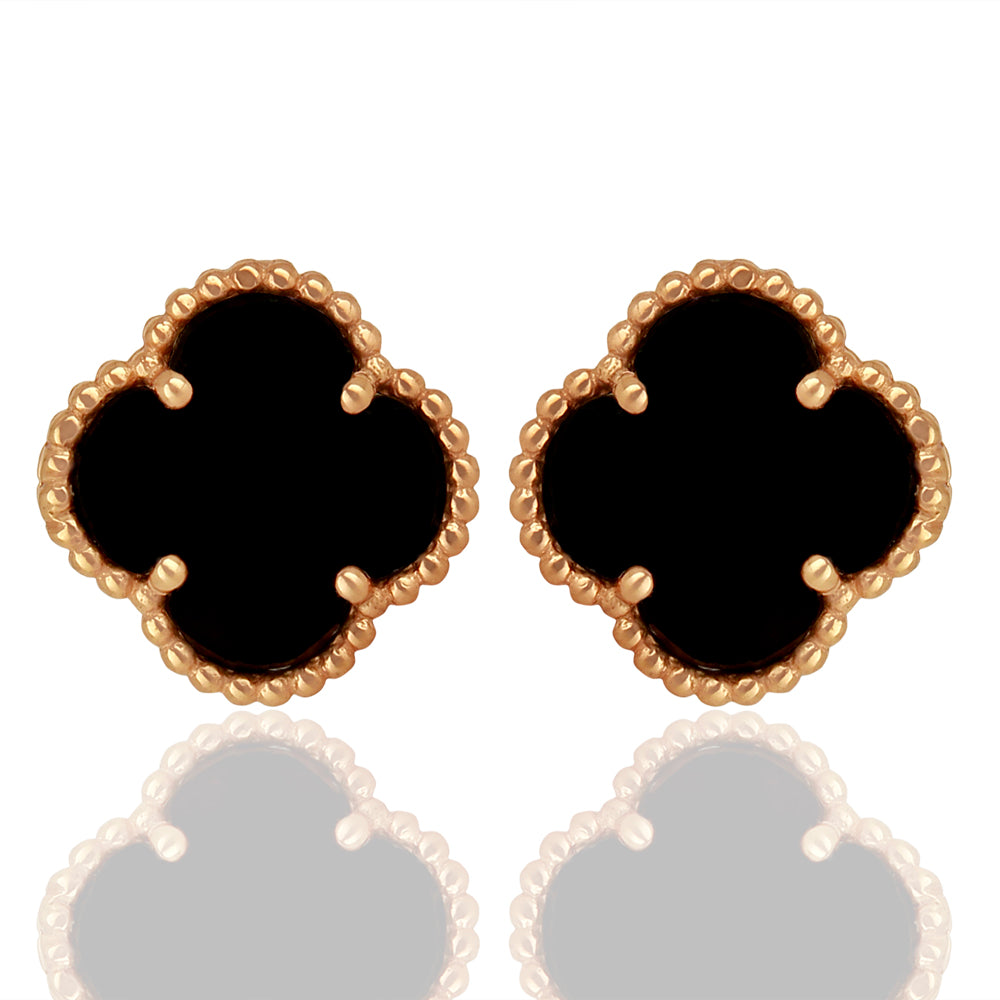 Black Onyx Quatrefoil Tops, Faith:Hope:Love:Luck, (Pure Silver Rose Gold)