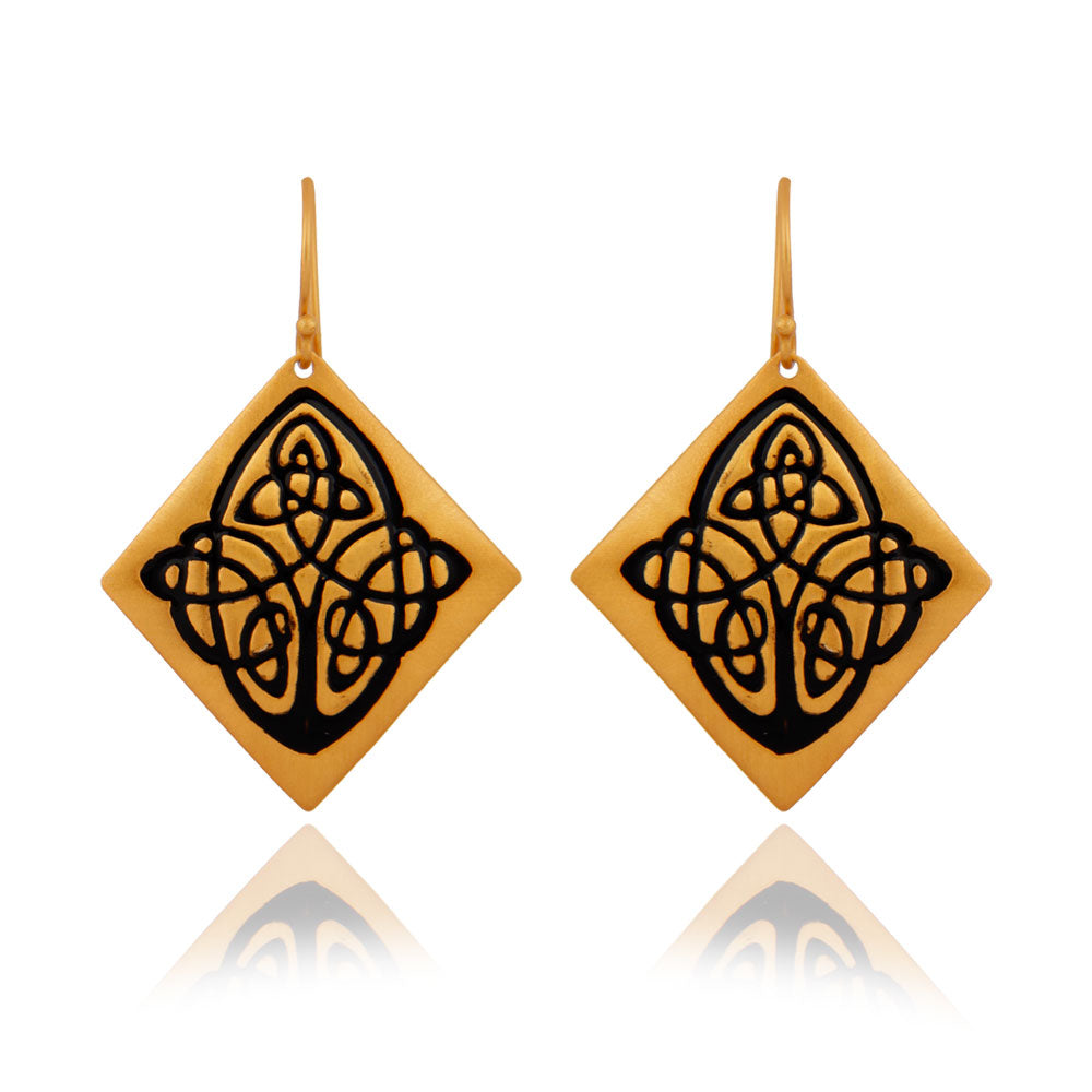 Arabic design etched in 22k Brushed Gold on Brass Danglers
