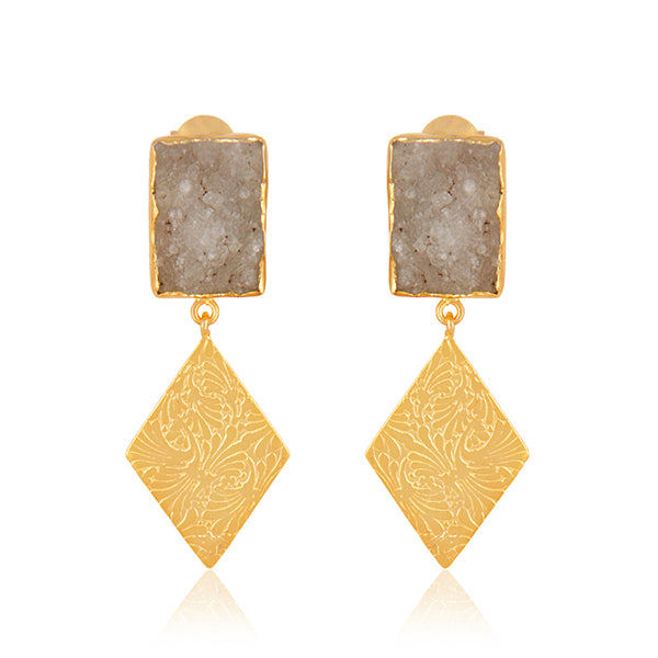 Druzy set in 22k Brushed Gold filled Etched Danglers