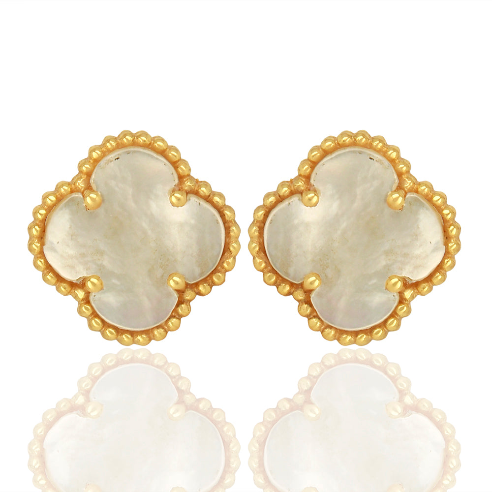 Mother Of Pearl Quatrefoil Tops, Faith:Hope:Love:Luck, (Pure Silver 22k Gold Vermeil)