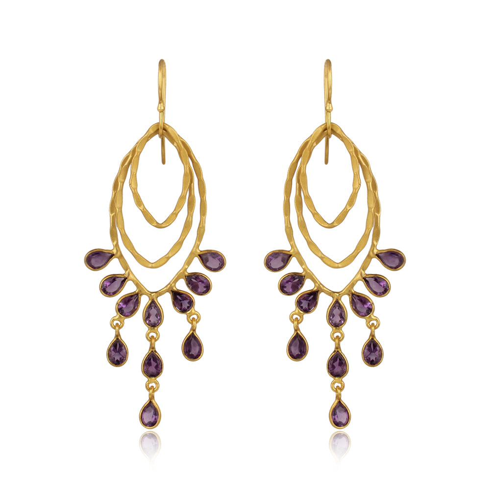 Amethyst set in Brass with 22k Brushed Gold Filled, Earrings