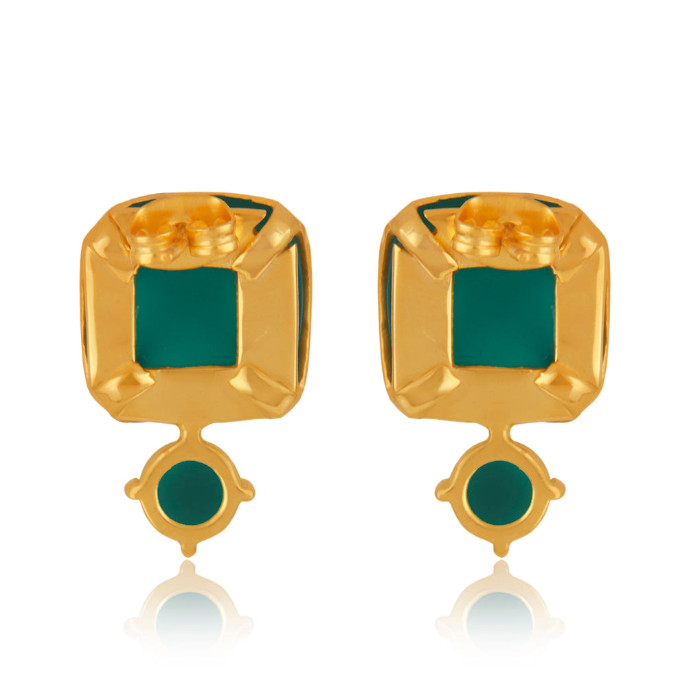 Encased Green Onyx Ear studs