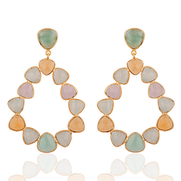 Pastel Danglers with Moonstone and Glass set in 22k Gold filled,  Danglers