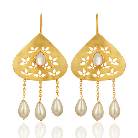 Mother of Pearl set in Filigree Earrings with Pearl Hangings