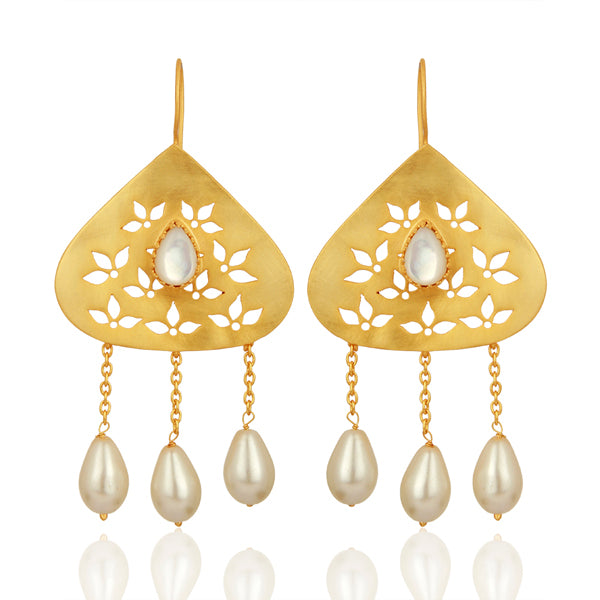 Mother of Pearl Filigree Earrings with Pearl Hangings
