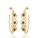 Lapis Honey Comb Hoops