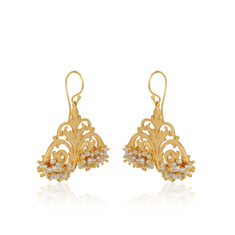 Filigree Danglers laced with Pearls