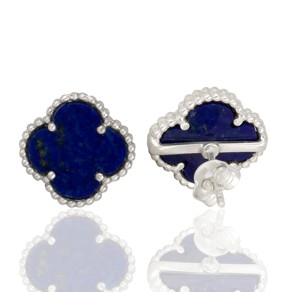 Lapis Lazuli Quatrefoil Tops, Faith:Hope:Love:Luck, (Pure Silver Rhodium Polish)