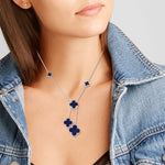 Quatrefoil Necklace: Faith:Hope:Love:Luck, Lapis Lazuli (Pure Silver Rhodium Polish)