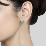 Sterling Silver Aqua Chalcedony Ear Tops