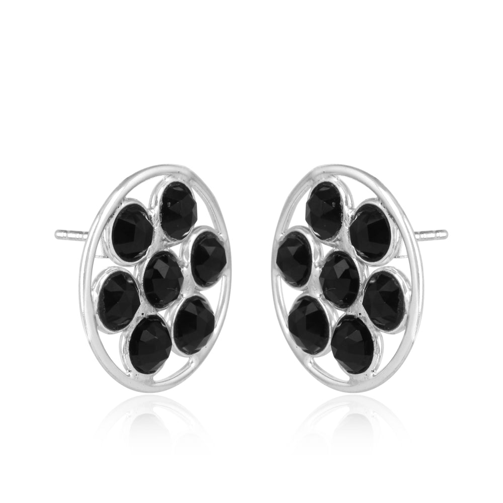 Black Onyx Sterling Silver Ear Tops