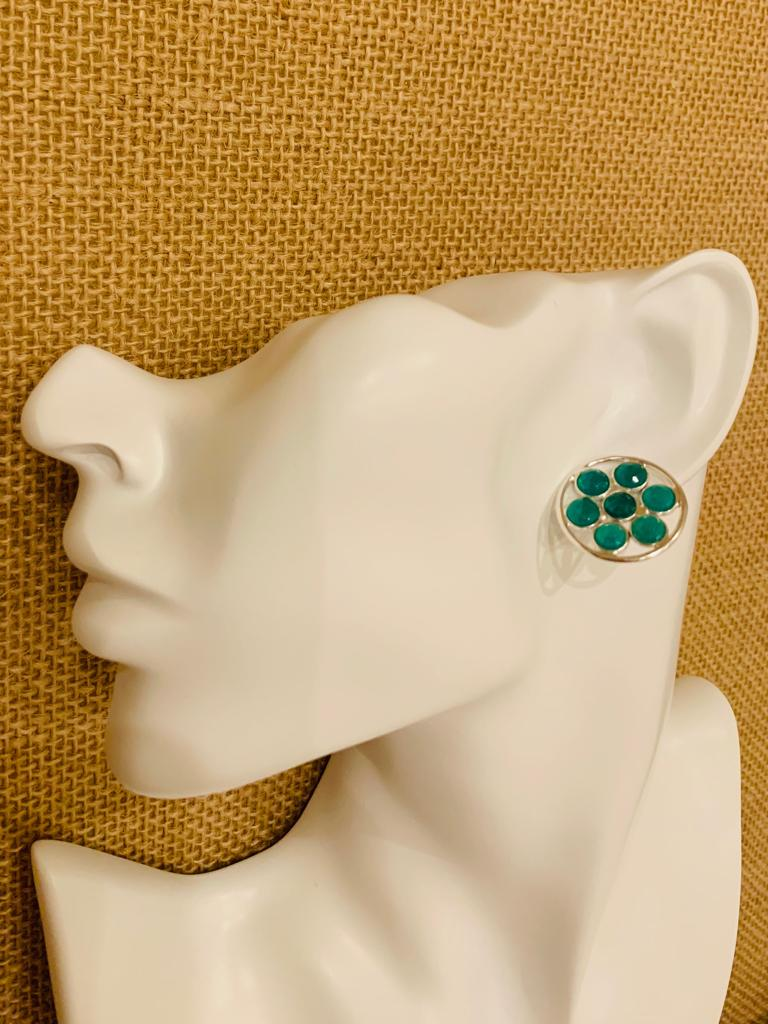 Green Onyx Sterling Silver Ear Tops