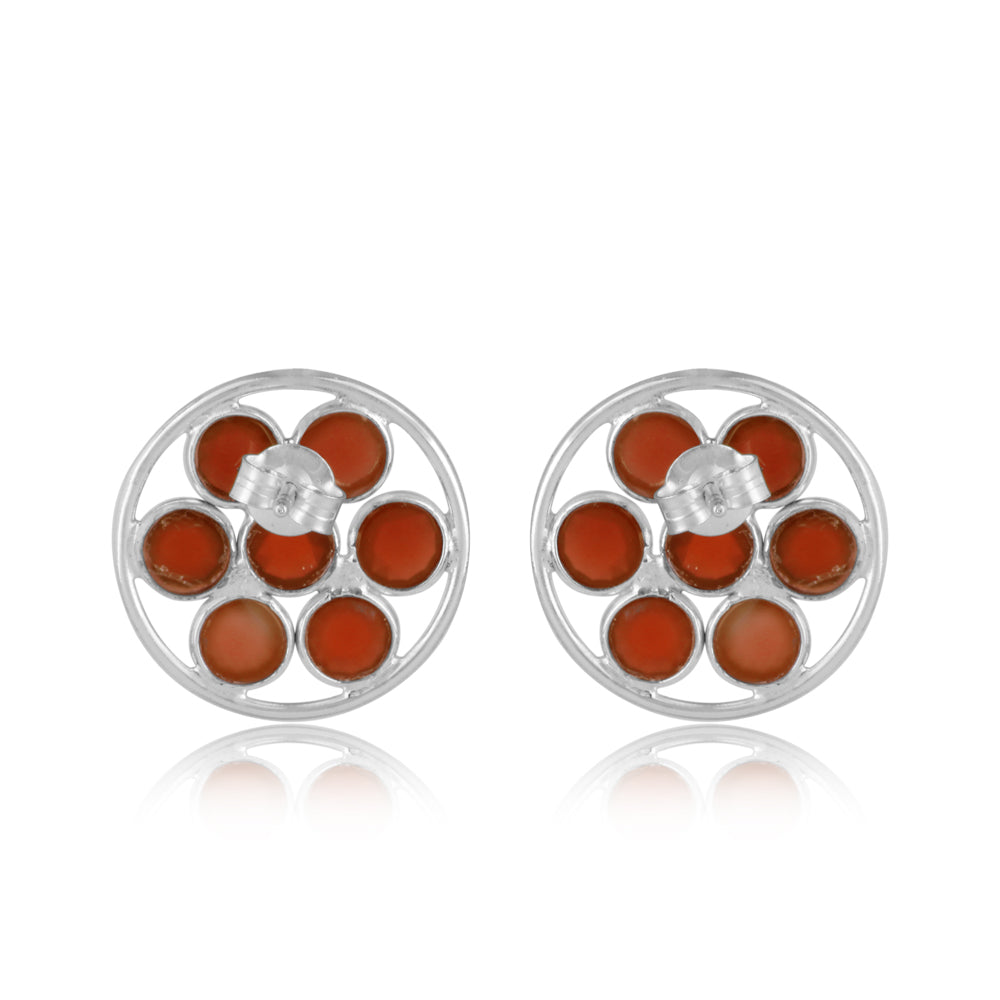 Red Onyx Sterling Silver Ear Tops