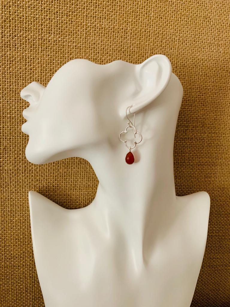Lilac Blossoms- Red Onyx Briolette, Sterling Silver Danglers