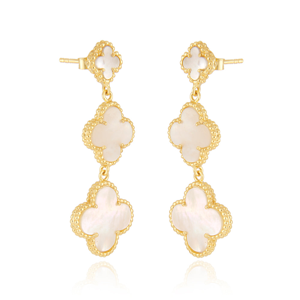 Mother Of Pearl Quatrefoil Danglers, Faith:Hope:Love:Luck, (Pure Silver 22k Gold Vermeil)