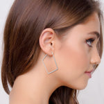 Hammered Geometric Hoops (Sterling Silver Rhodium Polish)