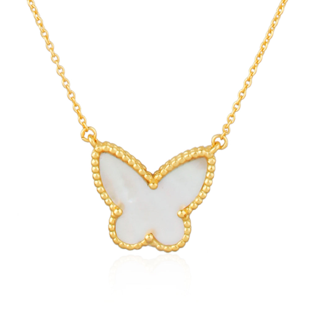 Butterfly : Joyful Transformation, Mother Of Pearl, Pure Silver 22k Gold Filled