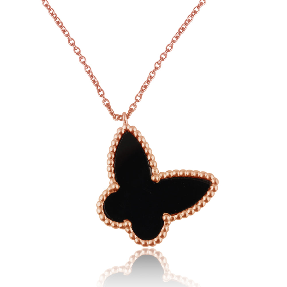 Butterfly : Joyful Transformation, Black Onyx, Pure Silver Rose Gold Filled