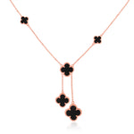 Quatrefoil Necklace: Faith:Hope:Love:Luck, Black Onyx (Pure Silver Rose Gold vermeil)