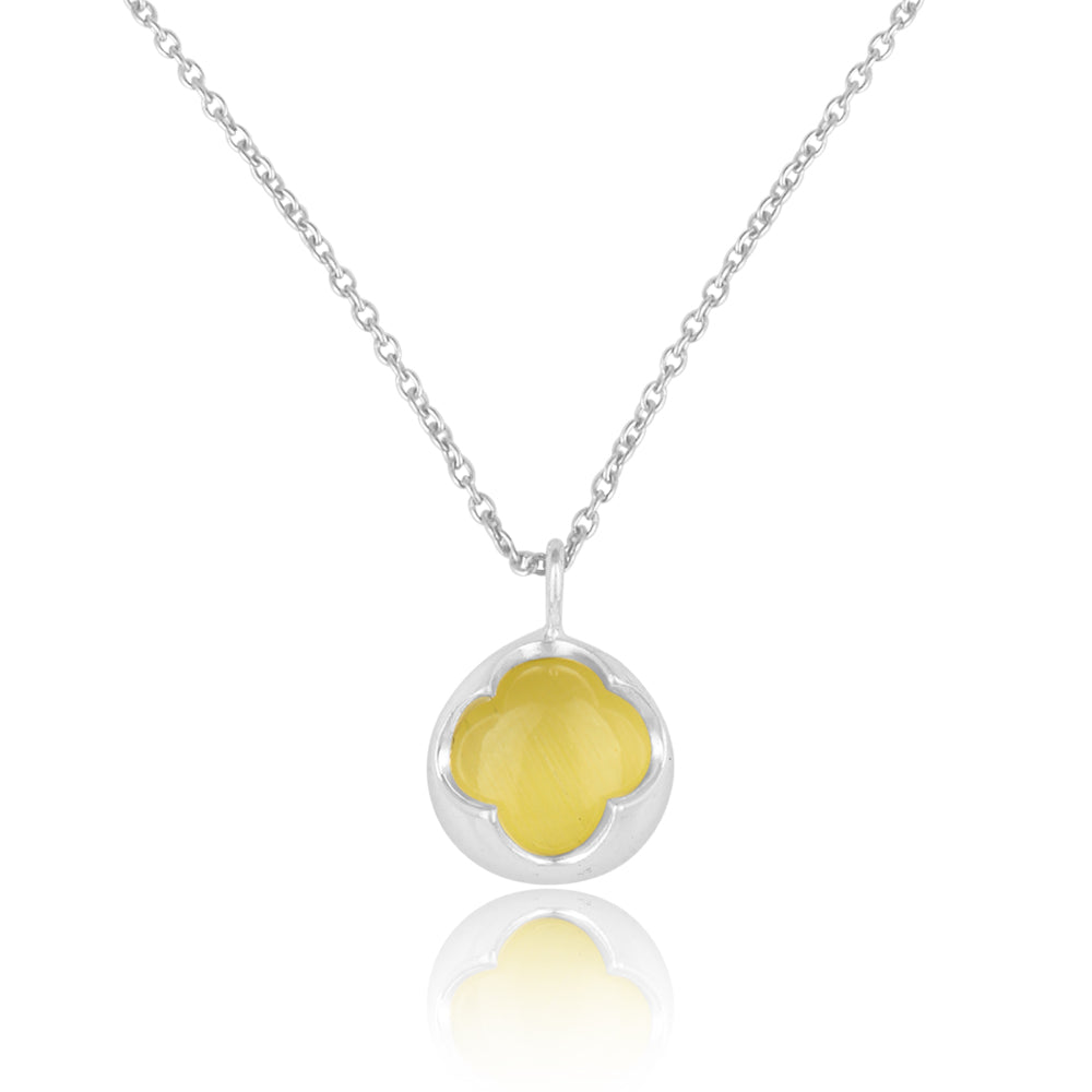 Mystical Yellow Moonstone (Pure Silver Rhodium Polish)
