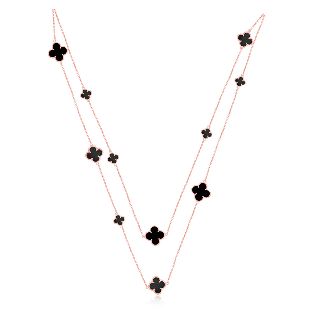 Quatrefoil Chain: Faith:Hope:Love:Luck, Black Onyx (Pure Silver Rose Gold vermeil)