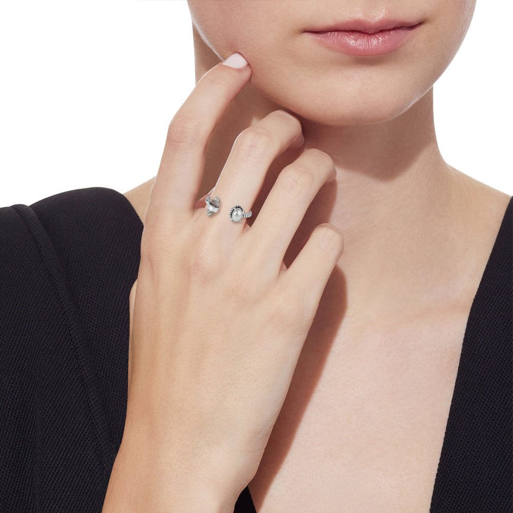 'Let's Meet' Herkimer Diamond and Fresh water Pearl Ring in Sterling Silver