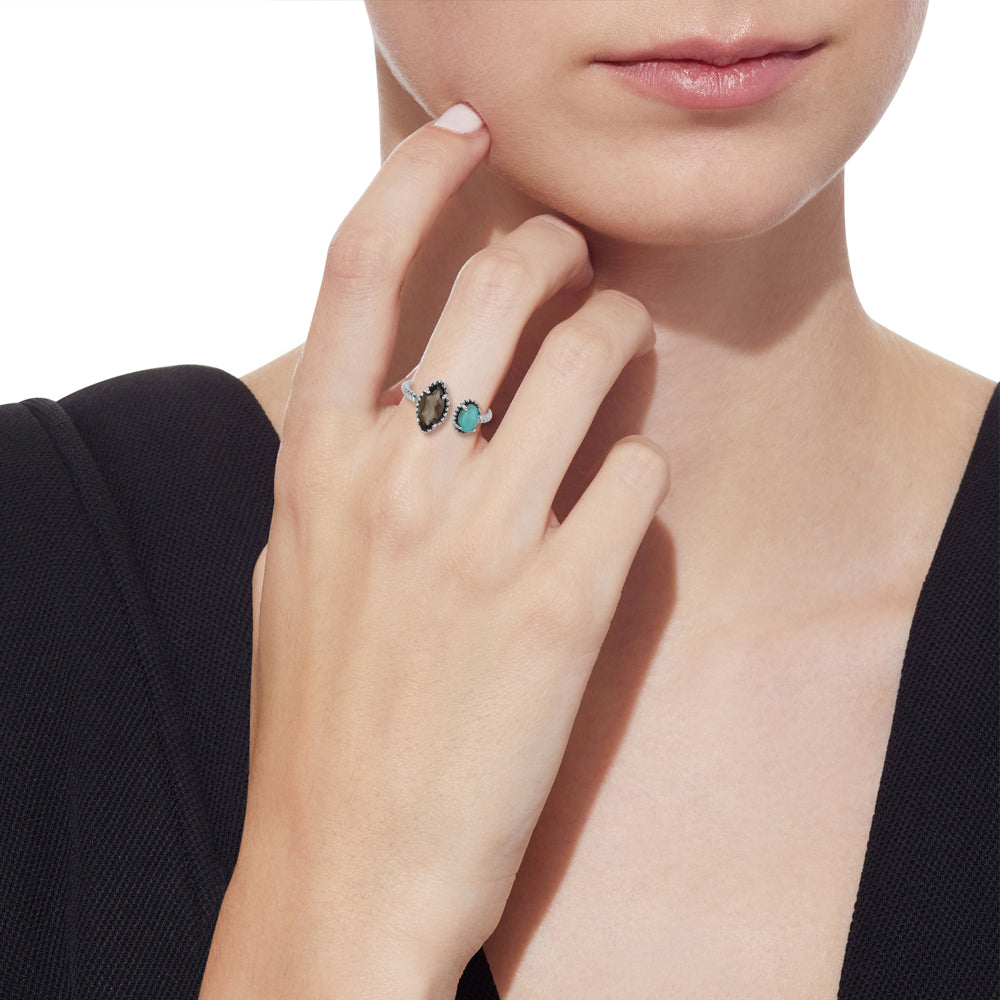 'Let's Meet' Smoky Quartz and Turquoise Ring in Sterling Silver