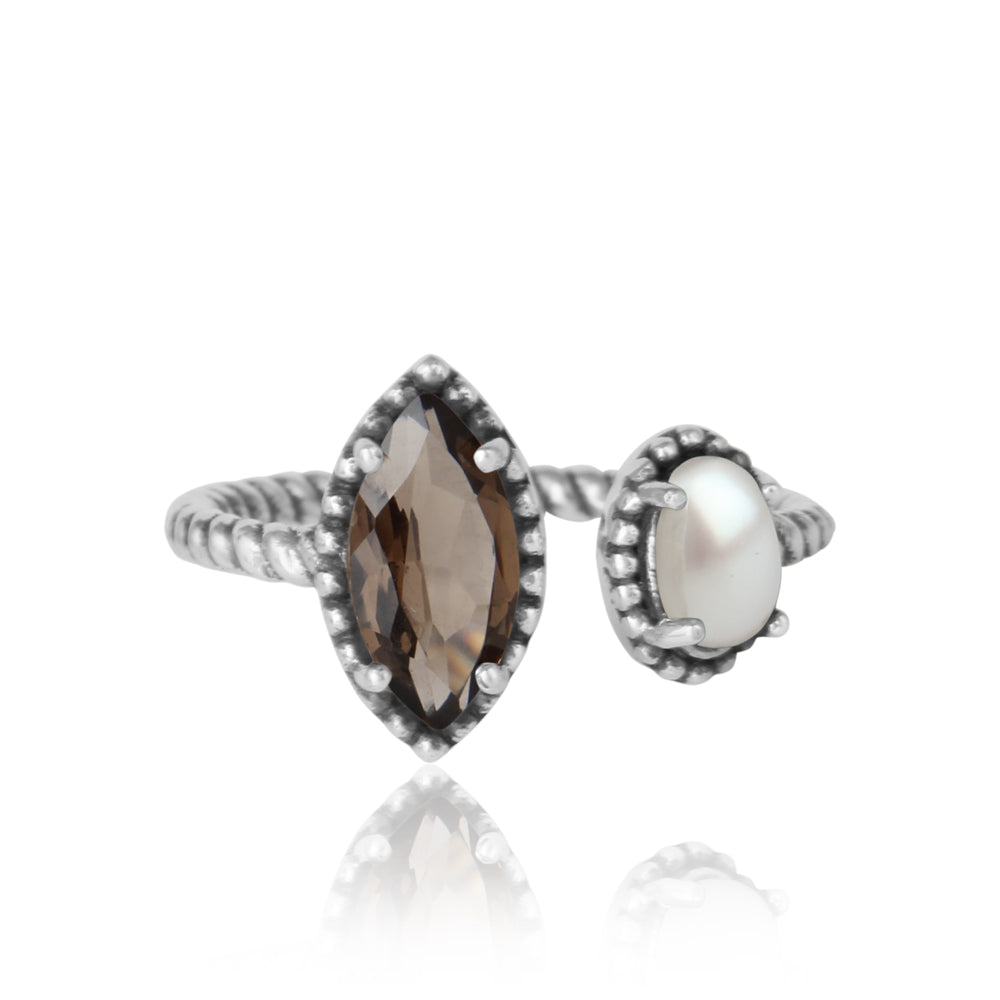 'Let's Meet' Smoky Quartz and Freshwater Pearl Ring in Sterling Silver