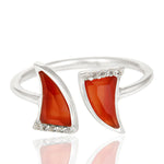Red Onyx laced with Cubic Zirconium in Sterling Silver