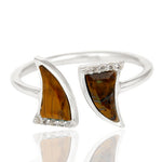 Tigers Eye laced with Cubic Zirconium  set in 925 Sterling Silver