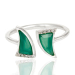Green Onyx laced with Cubic Zirconium  set in 925 Sterling Silver