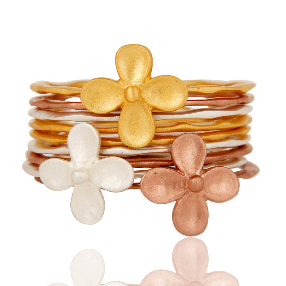 Blossoms of Flower, Brass Stacking Rings