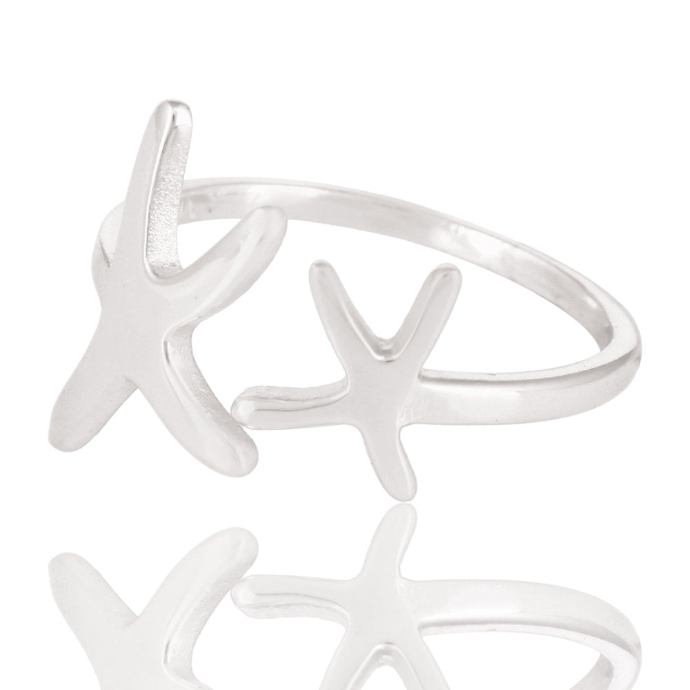 925 Sterling Silver Star Fish symbolic of 'Regeneration and Renewal' stacker Ring