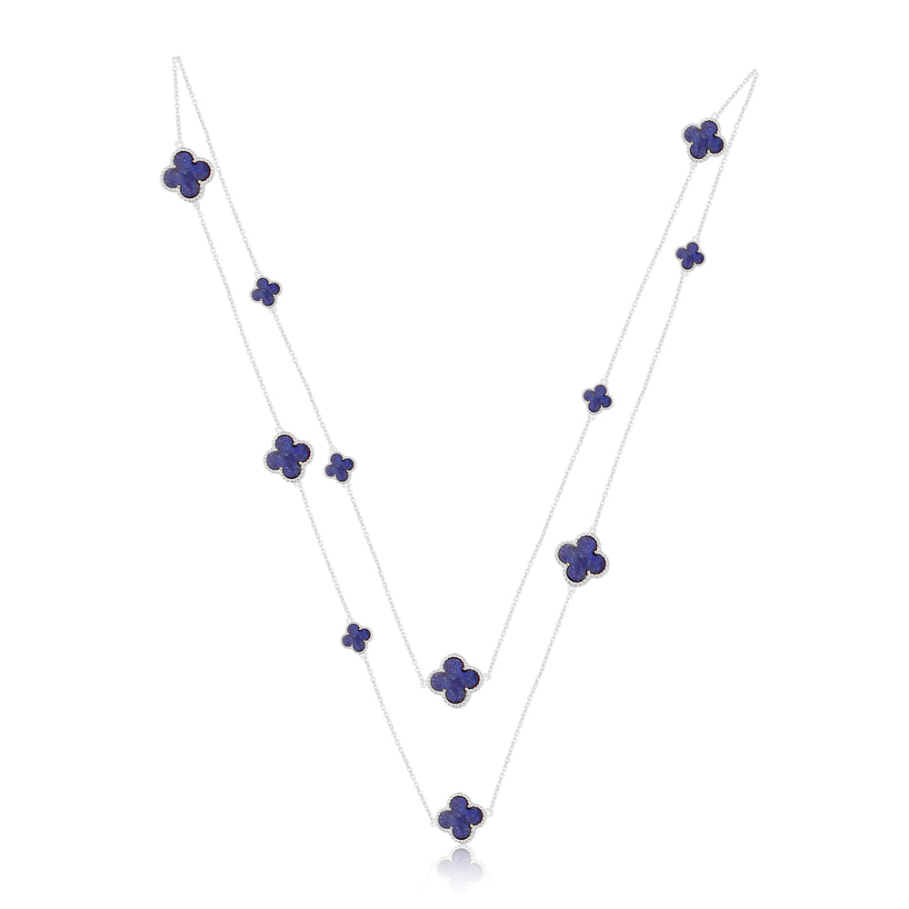 Quatrefoil Chain: Faith:Hope:Love:Luck, Lapis Lazuli (Pure Silver Rhodium Polish)