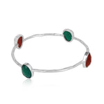 Red and Green Onyx set in 925 Sterling Silver Bangles