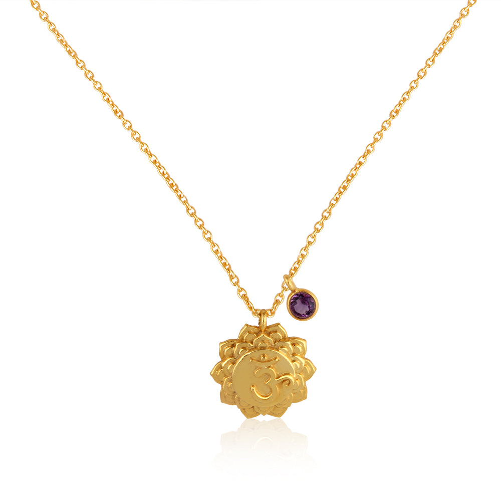OM Crown Chakra, Sahasrara- Amethyst Charm, (Wisdom:Clarity:Connection) Sterling silver Gold vermeil
