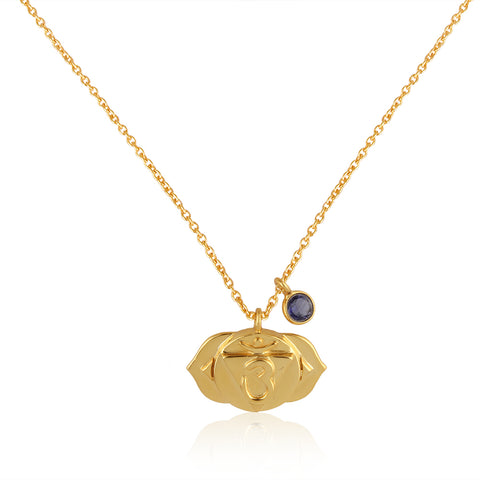 Third Eye Chakra, Ajna- Iolite Charm, (Intuition:Perception:Insight) Sterling Silver Gold vermeil