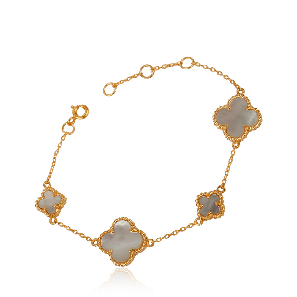 Quatrefoil Bracelet: Faith:Hope:Love:Luck, Mother Of Pearl (Pure Silver 22k Gold vermeil)