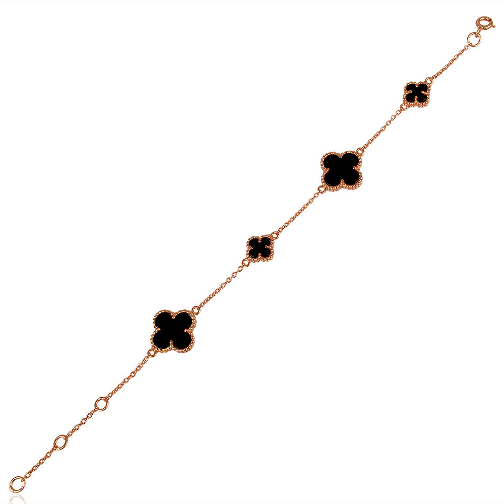 Quatrefoil Bracelet: Faith:Hope:Love:Luck, Black Onyx (Pure Silver Rose Gold vermeil)