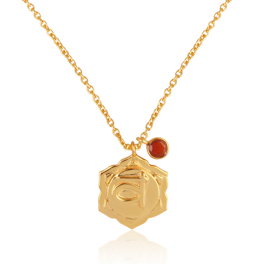 Sacral Chakra, Svadhisthana- Carnelian Charm, (Balance:Procreation:Relationships) Sterling Silver Gold vermeil