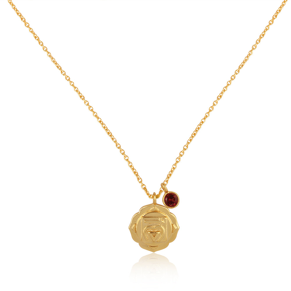 Root Chakra, Muladhara- Garnet Charm, (Grounding:Survival:Confidence) Sterling Silver Gold vermeil